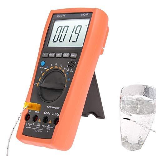 WY-YAN VC-97 Resistencia Auto Manual del multímetro digital termómetro del voltímetro del probador de AC DC Ohm + de doble pendiente la integración de un sistema de conversión A/D Preciso