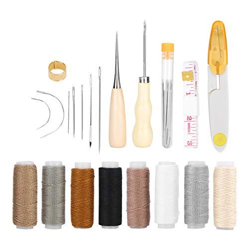 29 piezas de cuero para manualidades, herramientas de costura a mano, agujas, hilo, tijeras para coser, herramientas de reparación, conjunto de manualidades hechas a mano DIY