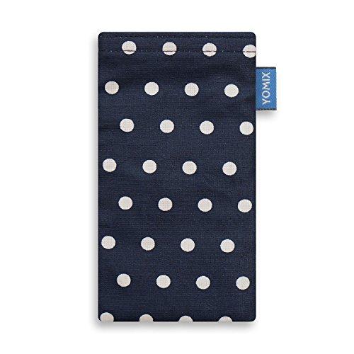 YOMIX Gunilla Blau mit Strahlenschutz Handytasche Tasche für LG Q7 Alfa aus beschichteter Baumwolle mit Microfaserinnenfutter | Hülle mit Reinigungsfunktion | Made in Germany
