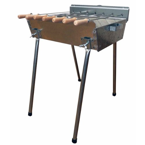 Profi Barbecue - Holzkohle Spießgrill 45 x 31 cm mit Grillmotor + 7 Edelstahlspieße + Deckel