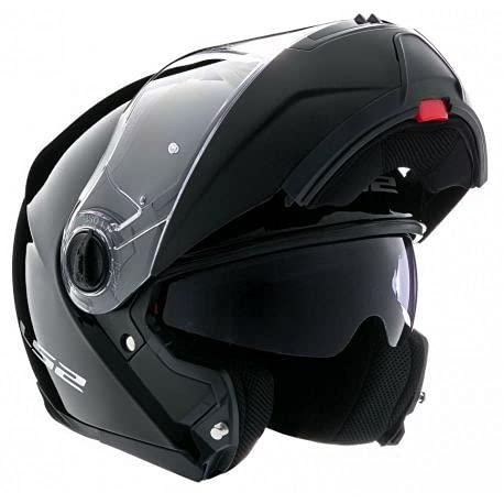 LS2estroboscópica ff325Flip Up Modular Motocicleta Moto Casco brillante negro + pasamontañas, mediano