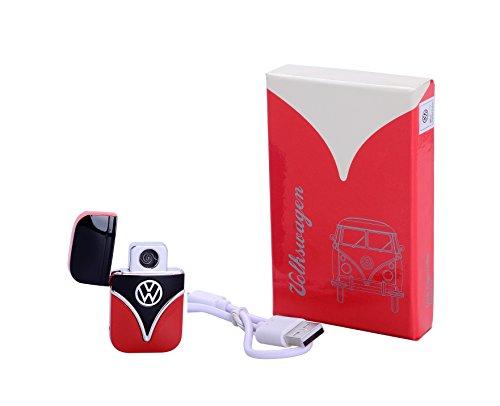 Volkswagen USB Sturmfeuerzeug Batteriefeuerzeug absolut Windfest Glühspirale (schwarz/rot)
