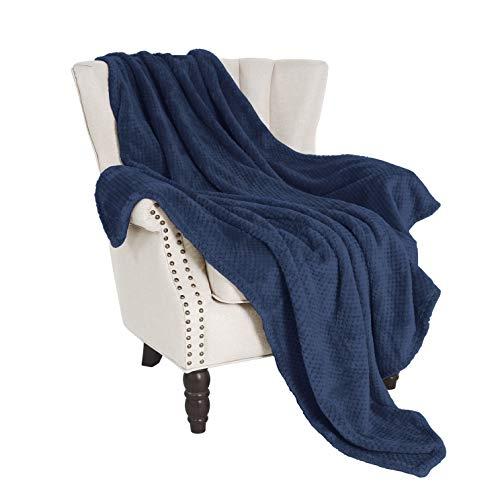 Exclusivo Mezcla Waffle Flannel Fleece Velvet Plush Large Throw Blanket – 50' x 70' (Navy Blue)