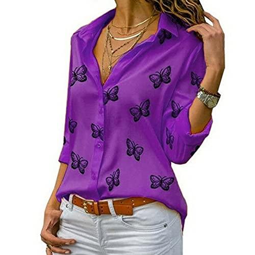 WAEKQIANG Camisa De Solapa Suelta con Estampado De Mariposa Multicolor De Solapa Informal Camiseta Suelta De Moda para Mujer