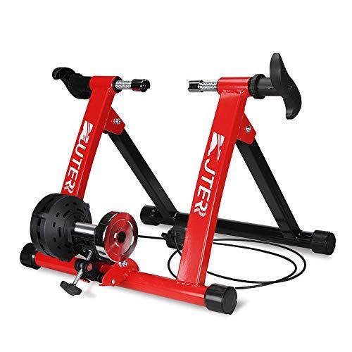SMLJJ Fahrrad Trainingsgestell, magnetischer Widerstand Draht-gesteuerte Reitplattform, geeignet für 26 x 28 Zoll Fahrräder, Lager 135kg, Indoor/Outdoor Fahrrad Fitness/Trainingsgeräte