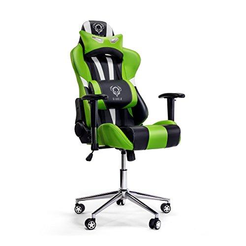 Diablo X-Eye Gaming Stuhl verstellbare Armlehnen belastbar bis 150 kg Wippfunktion Lendenkissen Kunstleder Farbauswahl (schwarz-grün)