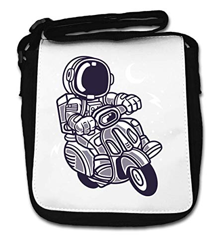 Cartoon Styled Astronaut Scooter Night Sky Small Shoulder Bag