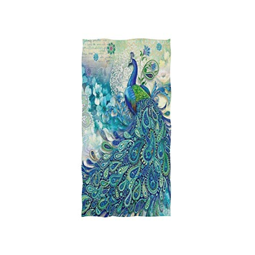 WIHVE Hand Towels, 15 x 30 inch Beautiful Peacock Absorbent Durable Towels for Home and Outdoor Use