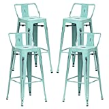 Alunaune 26' Metal Bar Stools Set of 4 Industrial Counter Height Stools Kitchen Bar Chairs Indoor Outdoor Counter Stool-Low Back, Distressed Blue