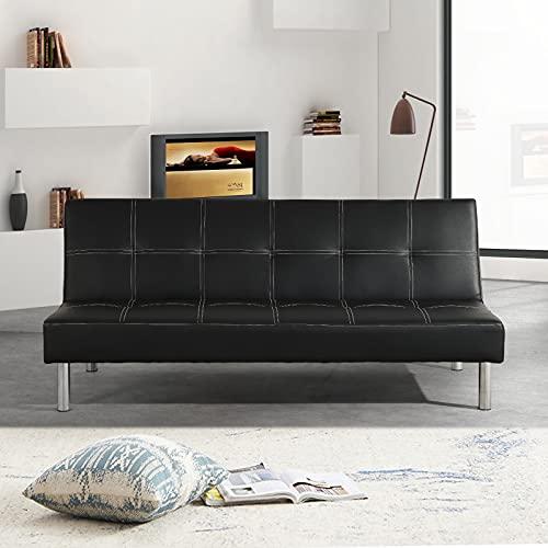 Divano letto Lucky 3 posti reclinabile ecopelle 3 posti - casa - ufficio - e piedi in metallo (Ecopelle, Nero)