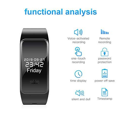 Wangyan 123 MP3-Player, Sprachaktivierung am Handgelenk, 16 GB, schwarze Stimmen-Armbanduhr, HiFi-Audio für Vorlesungen, Sport