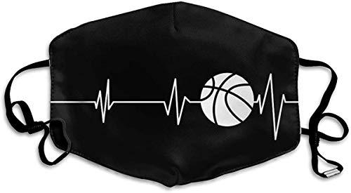 Gesichtsbedeckung, Anti-komfortabel, verstellbar, Herzschlag, Basketball, schwarz und weiß, bedruckt, Gesichtsdekorationen, waschbares Tuch