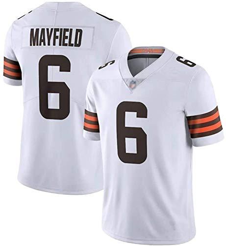 Cleveland Trikots Baker American Browns Football Mayfield Nr. 6 Fan Rugby-Trikot, Herren, Stickerei, schnelle Sportbekleidung, Trainings-T-Shirt, Weiß