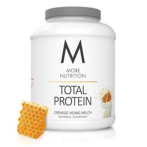 MORE NUTRITION Total Protein Eiweiß-Pulver mit Whey und Casein – 1500 g Cremige Honig-Milch (+ weitere Sorten) - Mit Aminosäuren und Laktase – Anti-Heißhunger, Gewichtsmanagement und Muskelaufbau
