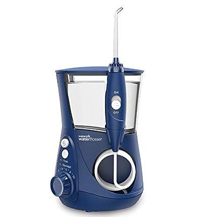 Waterpik Ultra Irrigador de Sobremesa Profesional con Agua a Presión y Sistema Avanzado de Control de Presión con 10 Posiciones con 7 Boquillas, Eliminación de Placa Dental, Azul (WP-663UK)