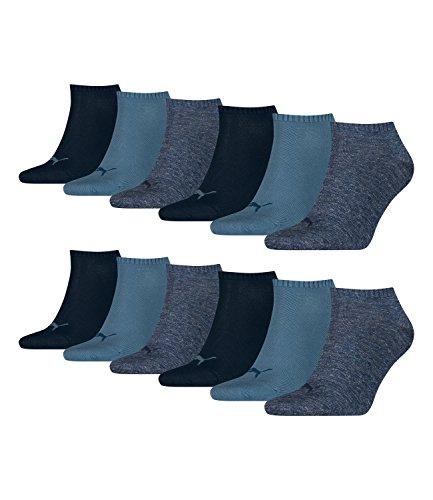 Puma unisex Sneaker Socken Kurzsocken Sportsocken 261080001 12 Paar, Farbe:Blau, Menge:12 Paar (4 x 3er Pack), Größe:43-46, Artikel:-460 denim blue