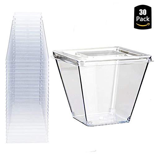 30 Stück 270 ML Einweg Dessertbecher Kunststoff Transparent Wiederverwendbar mit Deckel für Buffets Desserts Partys Catering (Quadrat)