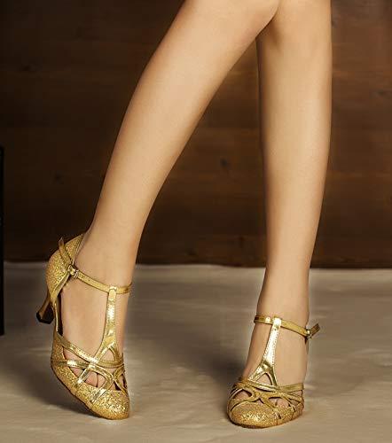 Minitoo qj6133Damen Geschlossen Zehen High Heel PU Leder Glitzer Salsa Tango Ballsaal Latin t-strap Dance Schuhe, Gold Gold-6cm Heel ,42 EU/8 UK - 4