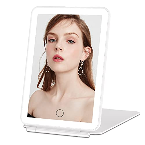 Rechargeable Makeup Vanity Mirror with 72 Led Lights, Lighted Portable Light up Beauty Mirror, 3 Color Lighting, Dimmable Touch Screen, Tabletop Cosmetic Mirror