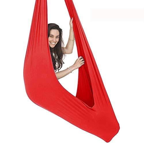 LICHUXIN Yoga Anti-Gravity Yoga Amaca per Altalena Attrezzatura per Danza Aerea Aerial Yoga Swing Altalena Terapeutica Interna Ideale for Autismo ADHD (Color : Red, Size : 100x280cm/39x110in)