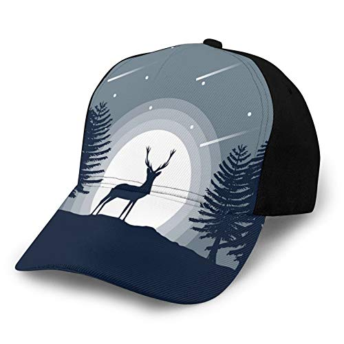 Printed Baseball Cap,Reindeer Silhouette At Night In Forest Illustration,Hat for Men Women Teens