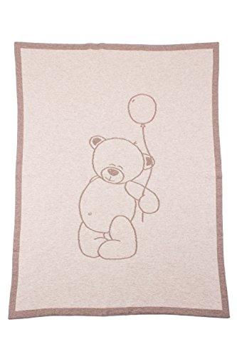 Love Cashmere Couverture Emmaillotée en 100% Cachemire pour Bébé - Naturel - Ours en Peluche - Fait main à Écosse