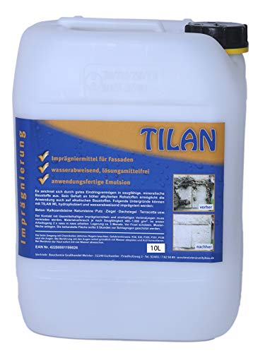TILAN Imprägnierung Hydrophobiermittel WL Umweltfreundlich Emulsion 10 L   nachträgliche Hydrophobierung von Baustoffen   Imprägniermittel für Fassaden   verarbeitungsfertig