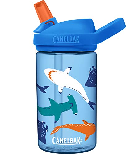 CamelBak Eddy+ Kids BPA-Free Water Bottle with Straw, 14oz, Shark Squad