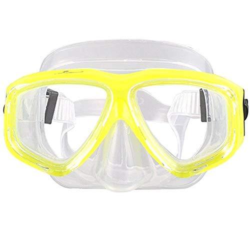 WOWDECOR Máscara de Buceo para Adultos y niños con visión Corta, máscara de esnórquel, Gafas de Buceo, corrección de dioptrías, Amarillo, -2,0
