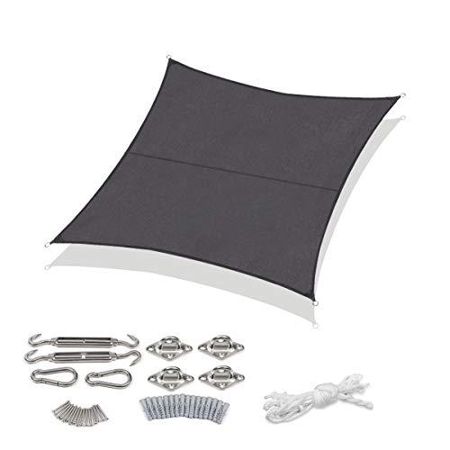 Sekey Sonnensegel Sonnenschutz Quadratische Polyester Windschutz Wetterschutz Wasserabweisend Imprägniert UV Schutz, Überlegene Reißfestigkeit mit Seilen undBefestigungsKit, Anthrazit 3×3m