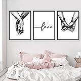 ZHONGXIN Cartel en Blanco y Negro tomados de la Mano Imagen Impresiones en Lienzo Amante Cita...