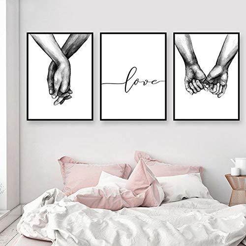 ZHONGXIN Cartel en Blanco y Negro tomados de la Mano Imagen Impresiones en Lienzo Amante Cita Pintura Arte de la Pared para Sala de Estar decoración Minimalista Pintura (No Frame E,30 * 40cm)