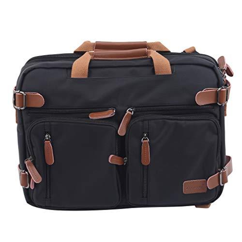 Yinew Herren Laptop Messenger Bag, Multi Pockets Wasserfeste Arbeitstasche Daypack für Business Travel School,schwarz