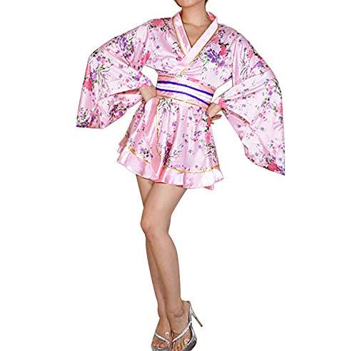 セクシー 着物ドレス 花魁 コスプレ衣装 ショート丈 花柄 和服 コスチューム 浴衣 ナイトドレス (ピンク)