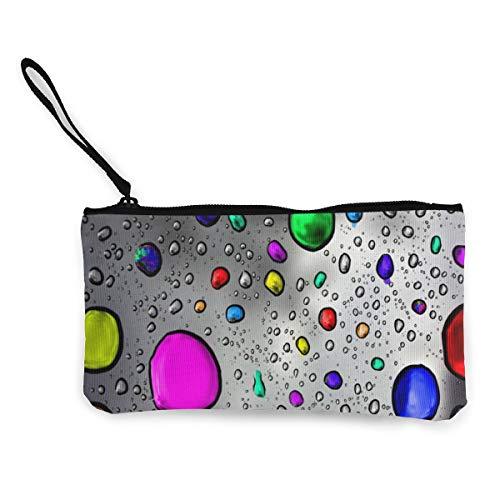 FIRS Rain Drops Damen Geldbörse aus Segeltuch mit Reißverschluss, 11,4 x 21,6 cm
