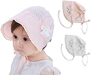 UTALY Baby Sun-Hat Cotton Mesh - Toddlers Breathable Bonnet Hat Princess Sun Protection Caps Adjustable Fit for 5-18 Months