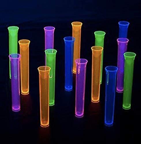 45 vasitos pequeños luz Ultravioleta Neon Colores Variados - Plástico Duro Vasos de Chupito, de Colores - Fiesta Fluorescente