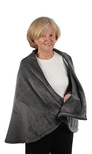 Granny Jo Products Women's Fleece Jackets and Coats Cape Fleecejacke, Grey, Small/Medium