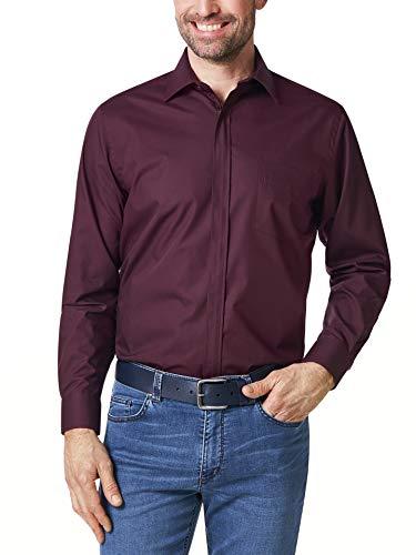 Walbusch Herren Hemd Bügelfrei Reißverschluss einfarbig Burgund 45-46 - Langarm extra kurz