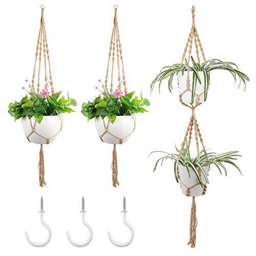 3 Pack Macrame Plant Hanger Indoor with 3 Pcs Hooks, Handmade Hanging Plant Holder Hanging Planters Baskets Stand Flower Pot Holder for Indoor Outdoor Boho Home Decor (3 Sizes)