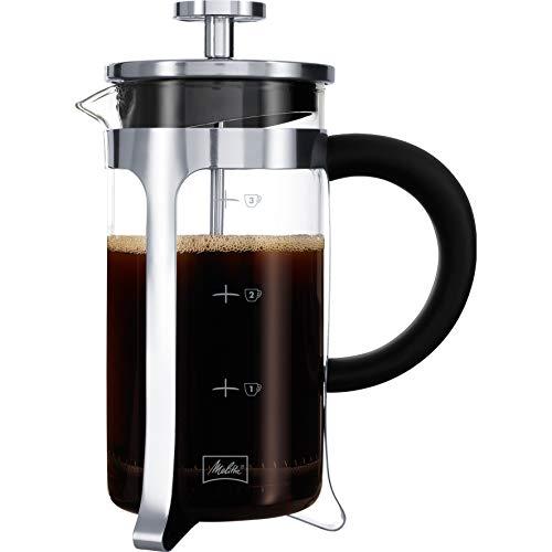 Melitta Kaffeebereiter aus Glas, Graduiert, French Press, für Kaffee oder Tee, Mikrowellenbehälter, Edelstahl, 400 ml (3 Tassen), Premium, Edelstahl
