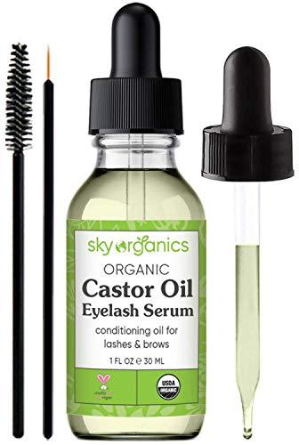 Organic Castor Oil Eyelash Serum by Sky Organics (1 oz) USDA Organic Cold-Pressed 100% Pure Castor Oil Natural Eyelash Serum Hexane-free Castor Oil with Mascara Brushes for Eyelashes and Eyebrows