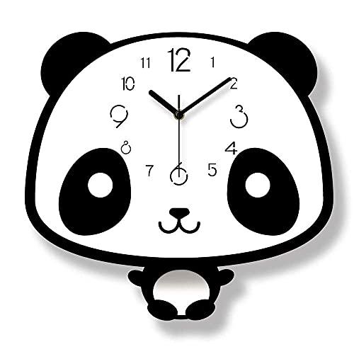 HCYY Material acrílico Dial Puntero de Metal Color Blanco y Negro Forma de Panda Dormitorio de los niños Pero Reloj de péndulo/Reloj de Pared