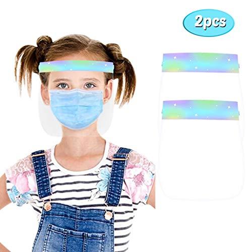 BIBOKAOKE 1/2 Stück Kinder Mundschutz Halstuch Bedruckte Transparente Visier Gesichtsschutz Anti Smoke Dust Anti-Saliva Waschbare Staubschutz Schutzvisier