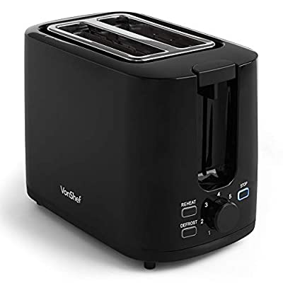 VonShef Black Toaster - 2 Slice Toaster with Browning Control, Removable Crumb Tray & Defrost Function - 900W