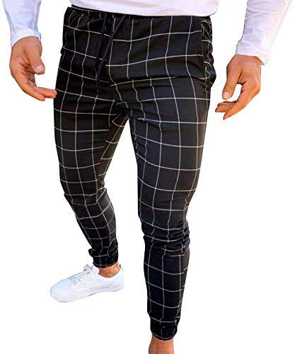 RuiyouQQ Hombre Casual Estrecho Running Pantalón de Chándal Ajustado Chándal Deporte Sudor Cuadros Pantalones (Negro, M)
