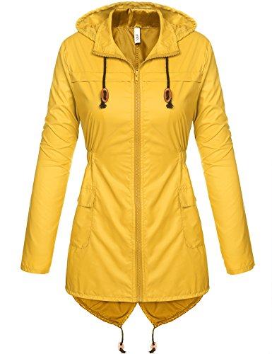 Beyove Damen Windjacke Regenjacke Regenmantel Regenparka Wassersäule - Atmungsaktivität Herbst Outdoorjacke (EU 40(Herstellergröße: L), Gelb)