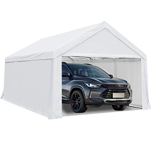 Quictent 10'x20' Heavy Duty Carport Car Canopy Boat Shelter Car Shelter with Ground Bar-White