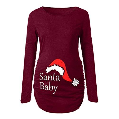 WEIMEITE Camisa de Maternidad Camiseta de Manga Larga Camiseta básica básica para Mujeres Embarazadas Ruch Sides Bodycon para Mujeres Embarazadas Rojo L