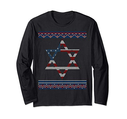 Jewish Americans Star Of David Us Flag Hanukkah Ugly Sweater Long Sleeve T-Shirt